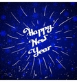 Hand-written Happy New Year with beam over blue vector image