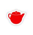 icon sticker realistic design on paper teapot vector image vector image