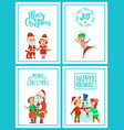 merry christmas santa claus holidays celebration vector image vector image