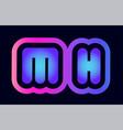 mh m h pink blue gradient alphabet letter logo vector image vector image