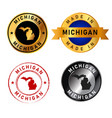 michigan badges gold stamp rubber band circle with vector image