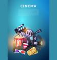 movie elements set vintage cinema entertainment vector image vector image