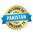 Pakistan 3d gold badge with blue ribbon vector image vector image