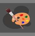 palette with brush on white background vector image vector image