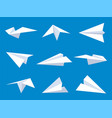 paper plane white airplanes from different vector image