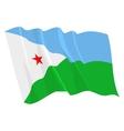 political waving flag of djibouti vector image vector image