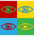 Pop art eye icons vector image