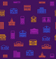 Property house signs thin line seamless pattern