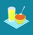 red lentils porridge and fruit juice breakfast vector image