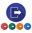 round icon of exit logout flat style with long vector image