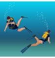 Scuba diverflat isometric Underwater vector image