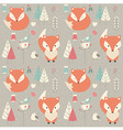 seamless pattern with cute christmas bafox vector image