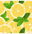 seamless pattern with lemon and mint on white vector image vector image