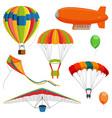 set of blimp paraglider and kite air balloon and vector image vector image
