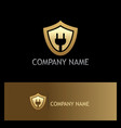 shield electric save guard gold logo vector image