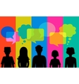 silhouette young people with speech bubbles vector image vector image