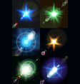 six bright multicolored stars vector image vector image