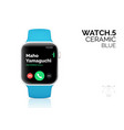 smart watch with blue bracelet realistic vector image vector image