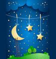 surreal night fantasy vector image vector image