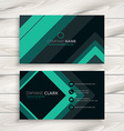 turquoise minimal business card vector image vector image