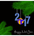 Volleyball and 2017 on a Christmas tree branch vector image vector image