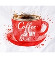 Watercolor red cup of cappuccino vector image