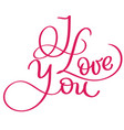 i love you red vintage text calligraphy vector image