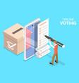 3d isometric flat concept online voting vector image vector image