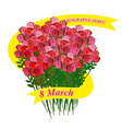 8 March Big bouquet of roses Holiday Ribbon vector image