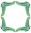 A frame made of green plants with flowers vector image vector image