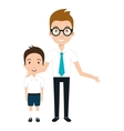 boy student character with teacher isolated icon vector image vector image