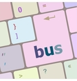 bus word icon on laptop keyboard keys vector image