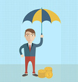 Businessman holding umbrella to protect money for vector image