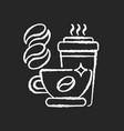 caffeine chalk white icon on black background vector image