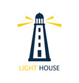 card with cute lighthouse isolated on white vector image