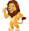 cartoon lion giving thumbs up vector image vector image