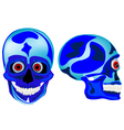 Cartoon skull of the person in front and profile vector image vector image