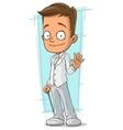 Cartoon smiling bridegroom in white suit vector image vector image