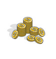 cash money coin stacks isolated on white vector image vector image