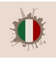 Circle with industrial silhouettes Italy flag vector image vector image