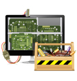 Computer Repair with Toolbox vector image vector image