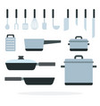 cooking cookware flat isolated vector image vector image