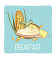 corn porridge breakfast card - gluten free vector image vector image