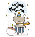cute little bear found a big acorn in a clearing vector image vector image