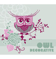 Decorative handdrawing owl vector image