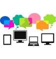 different computer icons with speech bubbles vector image vector image
