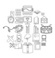 effective learning icons set outline style vector image vector image