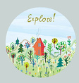 Explore nature card - round design vector image
