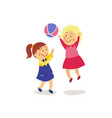 flat girls playing with inflatable ball vector image vector image