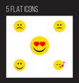 flat icon gesture set of displeased joy sad and vector image vector image
